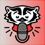 Bucky Badger with microphone